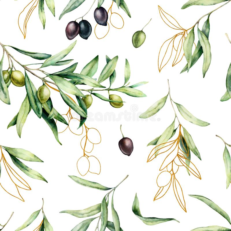 Watercolor seamless pattern with black, gold and green olives, branches. Hand painted olives and leaves isolated on. White background. Botanical illustration stock photos