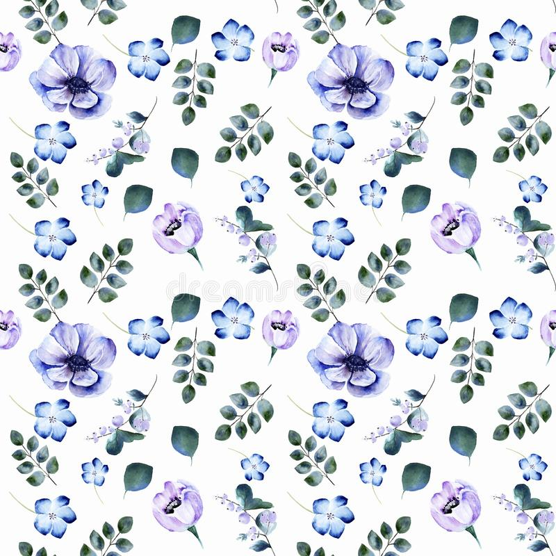 Watercolor seamless pattern with blooming anemone flowers stock images