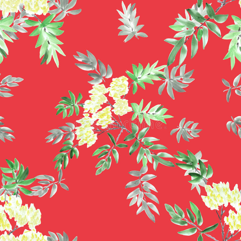 Watercolor seamless pattern blossoming spring branches with yellow flowers and green leaves on a red background. stock photos