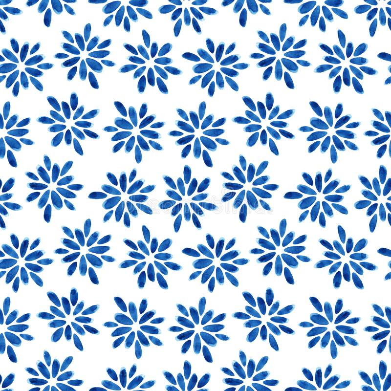 Watercolor seamless pattern with blue flowers. Abstract modern background, illustration. Template for textile, wallpaper, wrapping paper, etc vector illustration