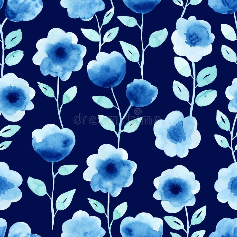 Watercolor seamless blue pattern with flowers royalty free illustration