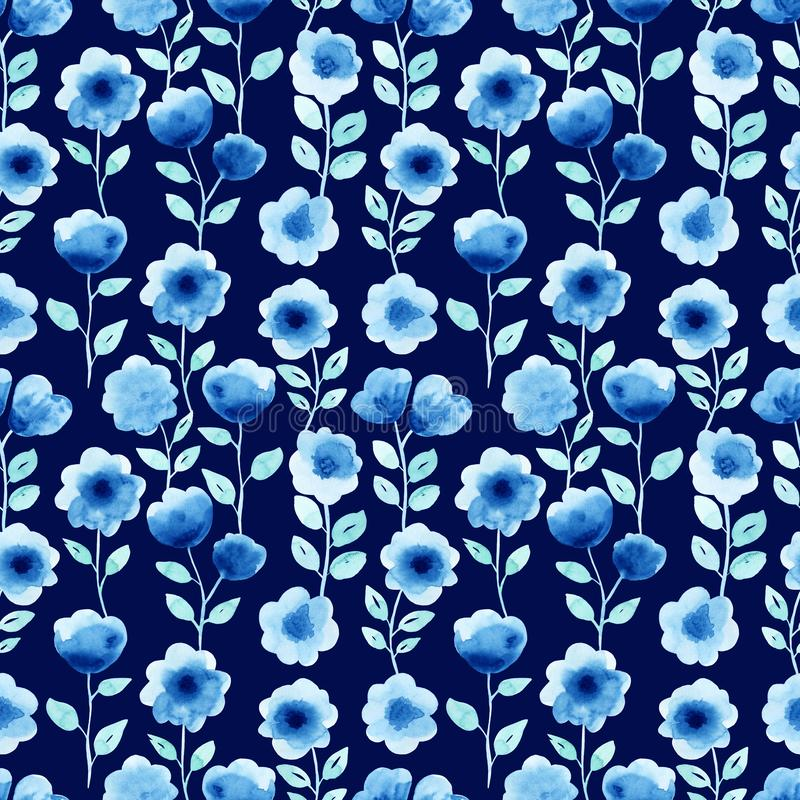 Watercolor seamless pattern with blue flowers. On the dark background. Abstract modern background, illustration. Template for textile, wallpaper, wrapping paper royalty free illustration