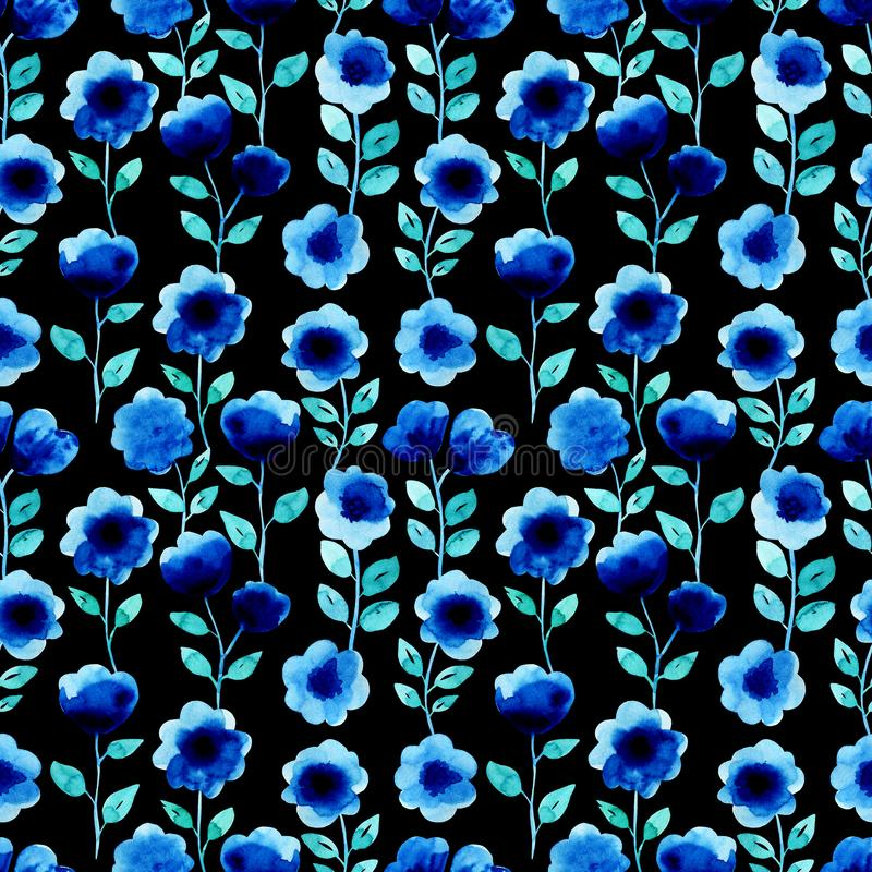 Watercolor seamless pattern with blue flowers. On the dark background. Abstract modern background, illustration. Template for textile, wallpaper, wrapping paper stock illustration