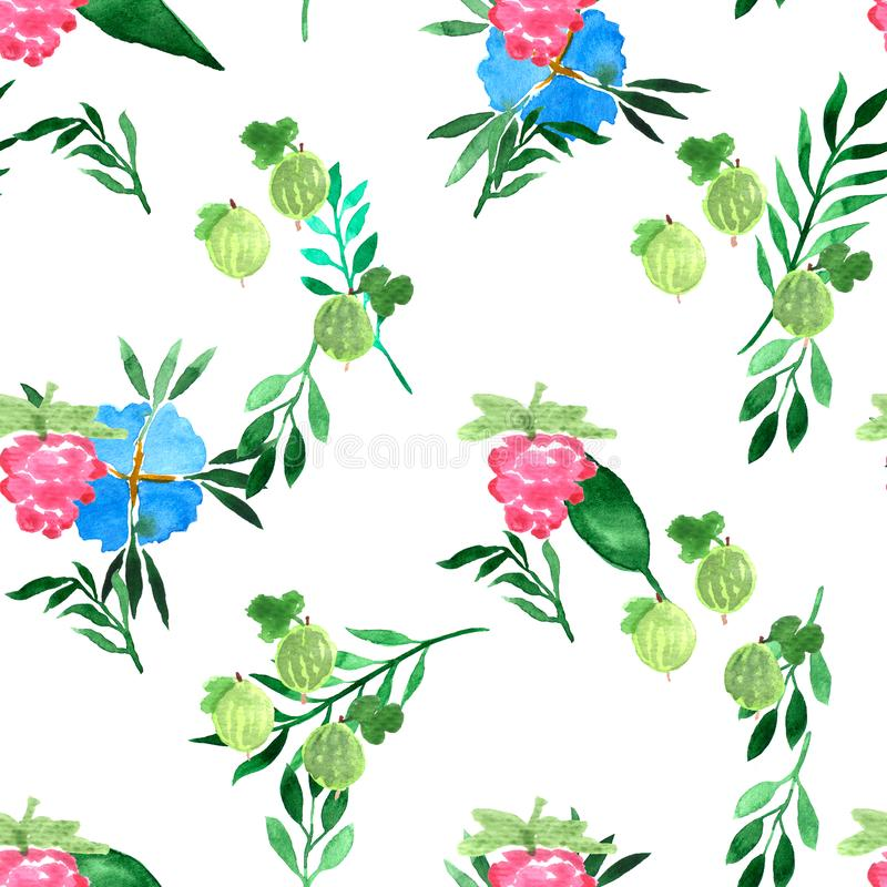 Watercolor seamless pattern with blue flowers and summer berries. Decorative background. Vibrant hand painted elements. Raspberry stock photos