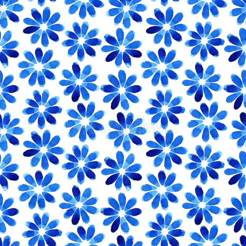 Watercolor seamless pattern with blue flowers. Abstract modern background, illustration. Template for textile, wallpaper, wrapping paper, etc royalty free illustration