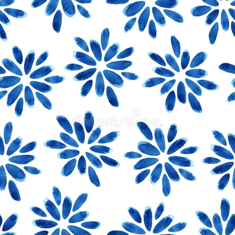 Watercolor seamless pattern with blue flowers. Abstract modern background, illustration. Template for textile, wallpaper, wrapping paper, etc stock illustration