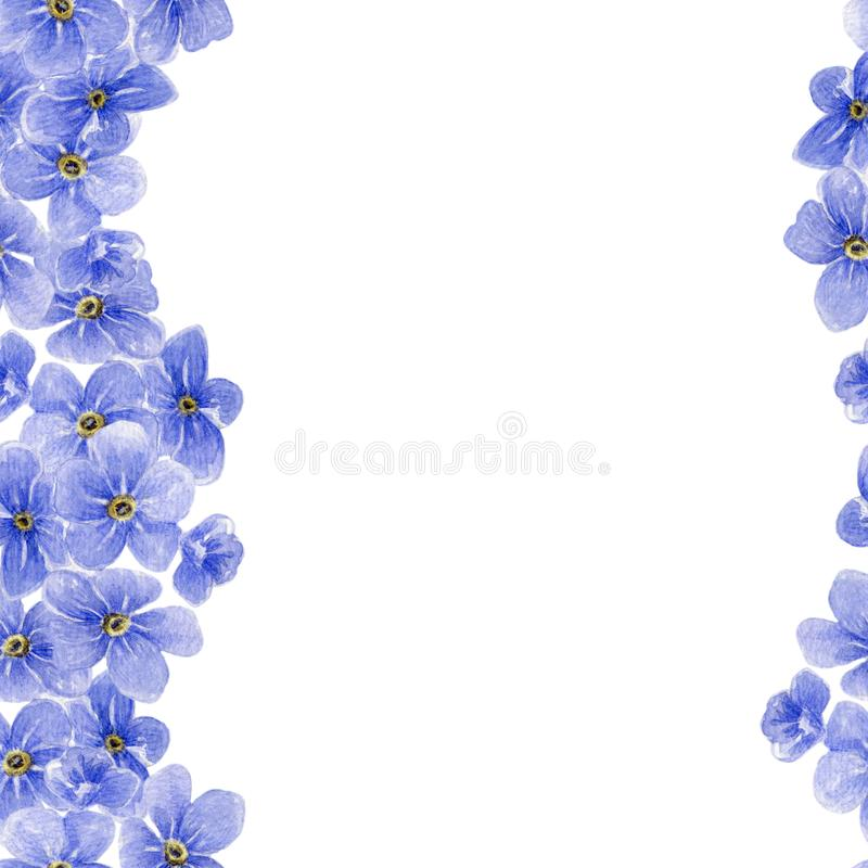 Watercolor seamless pattern with blue forget me not flowers stock illustration