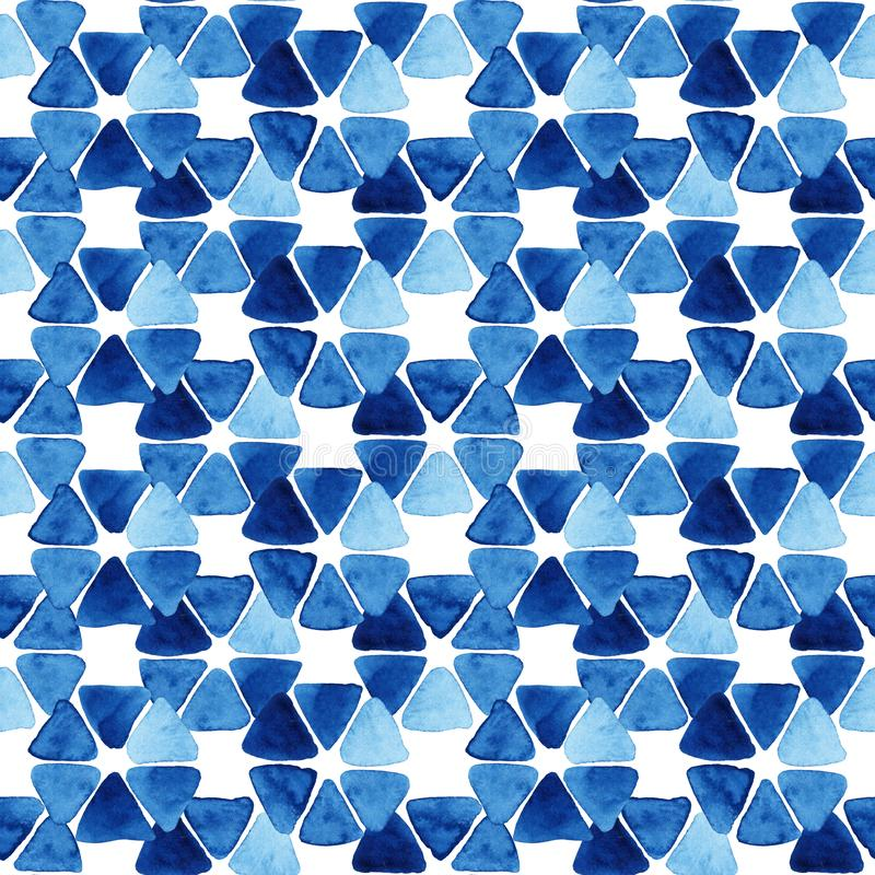 Watercolor seamless pattern with triangles. Watercolor seamless pattern with blue mosaic. Abstract modern background, illustration. Template for textile stock illustration
