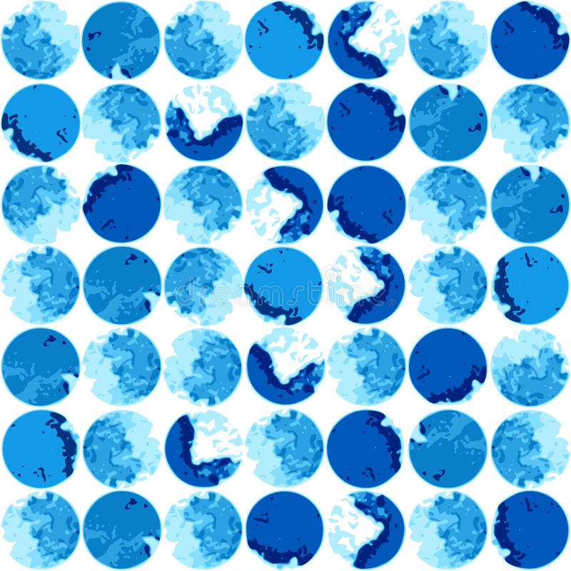 Watercolor seamless pattern with blue polka dots. stock illustration