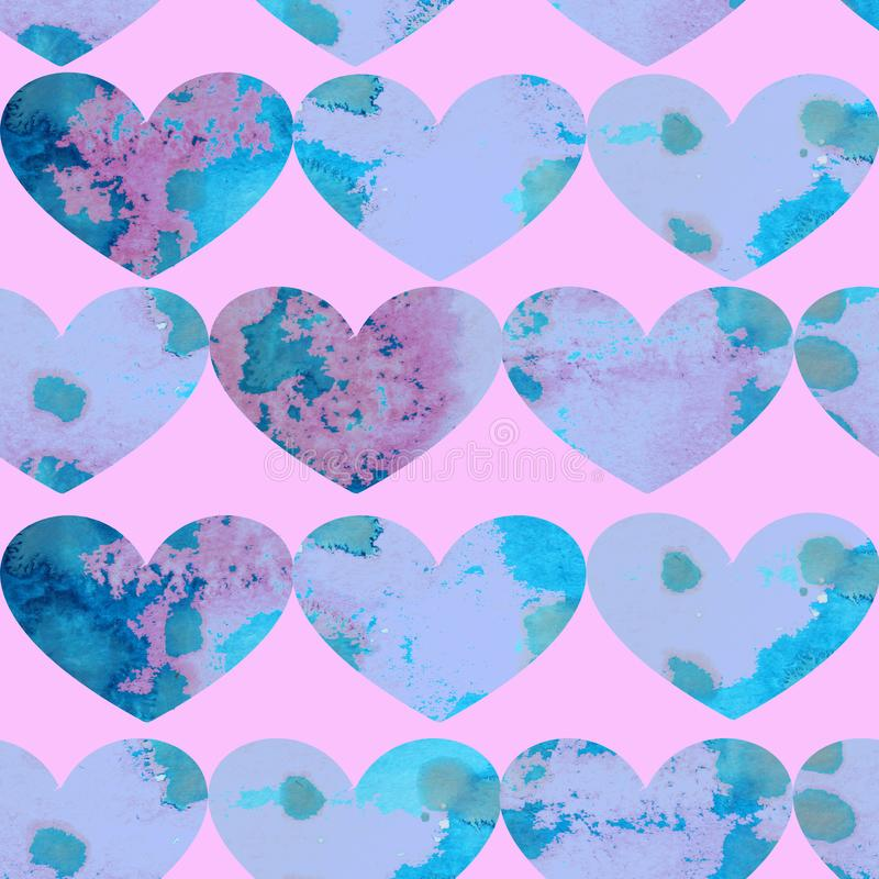 Watercolor seamless pattern of blue textured hearts on a pink background royalty free illustration