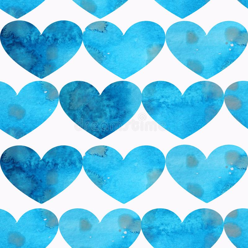 Seamless pattern of blue textured hearts on a white background royalty free illustration