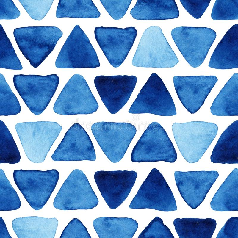Watercolor seamless pattern with triangles. Watercolor seamless pattern with blue triangles. Abstract modern background, illustration. Template for textile vector illustration
