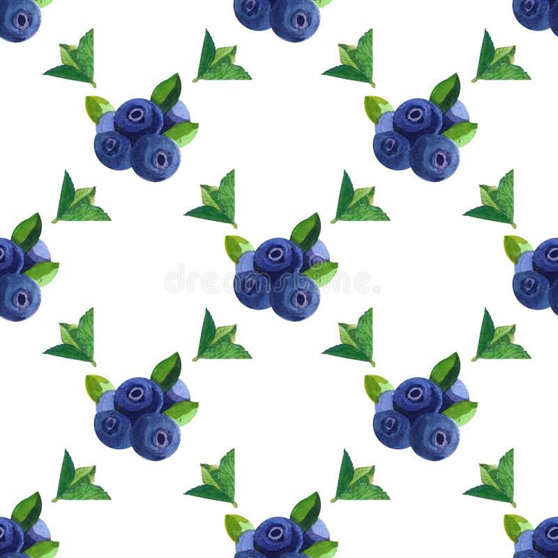 Watercolor seamless pattern with blueberry. Hand drawing decorative background. Print for textile, cloth, wallpaper, scrapbooking stock images