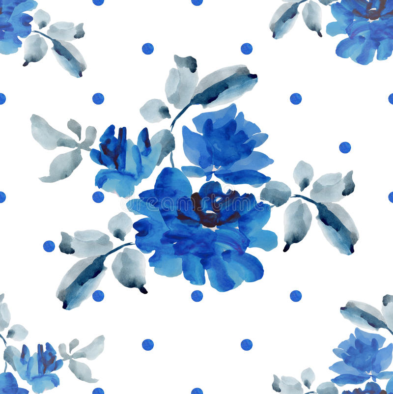 Watercolor seamless pattern with bouquets of blue roses and blue polka on white background. vector illustration