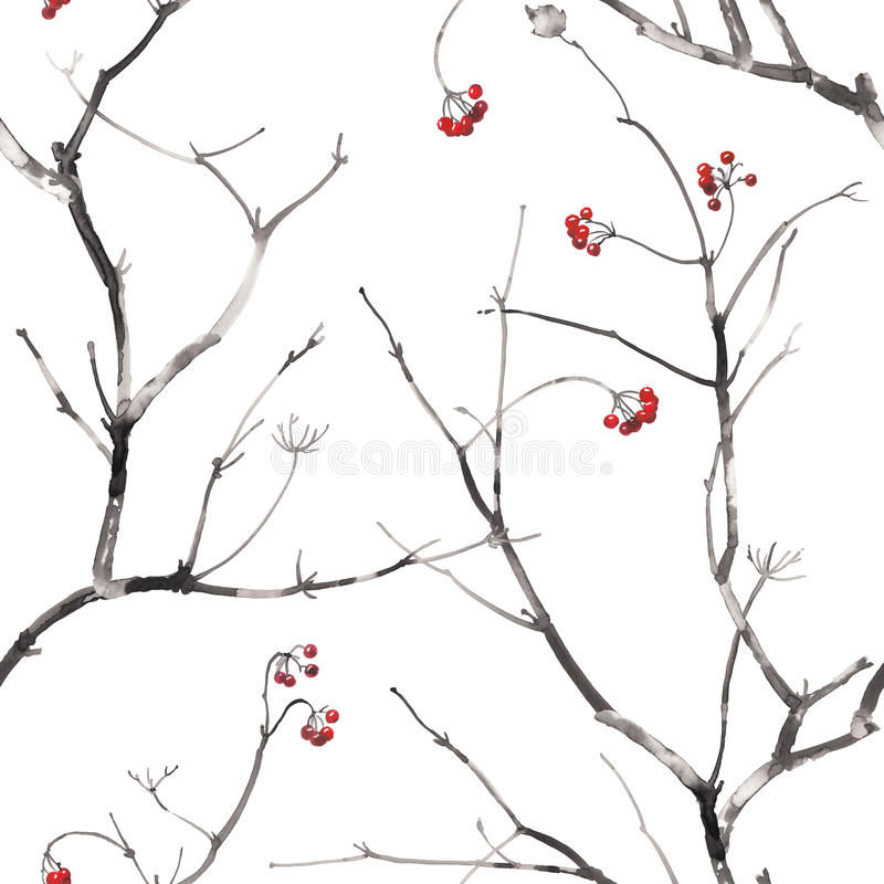 Watercolor seamless pattern with branches and berries. royalty free illustration
