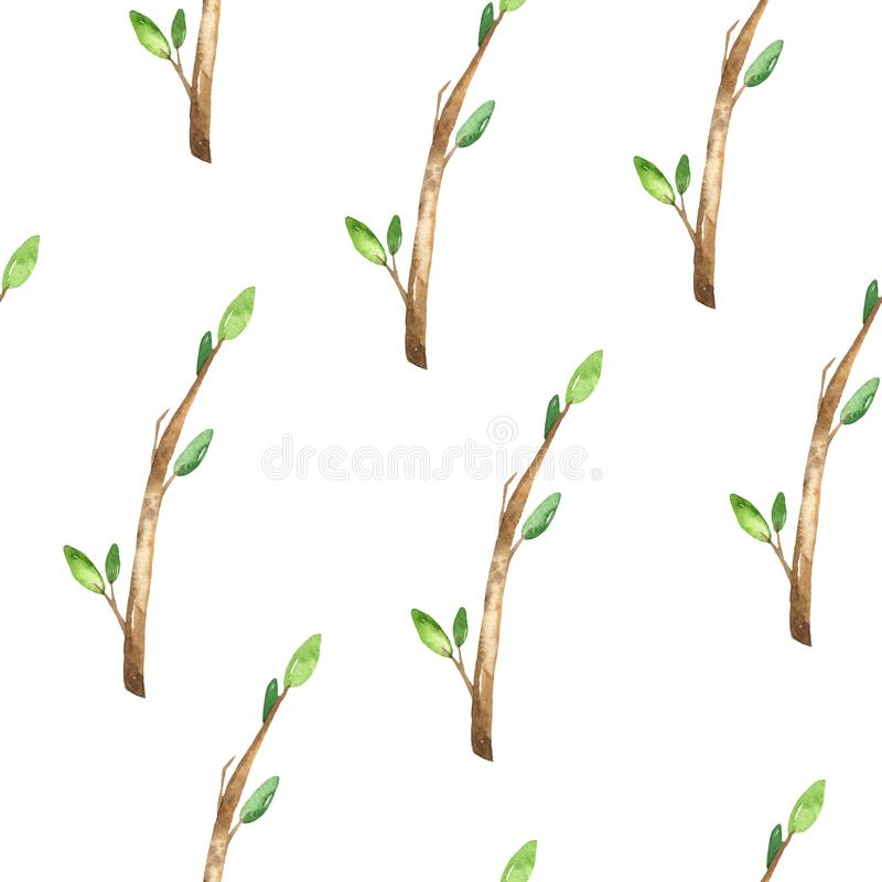 Watercolor seamless pattern with branches and leaves on a white background. Branches and leaves on a white background. Watercolor seamless pattern royalty free illustration