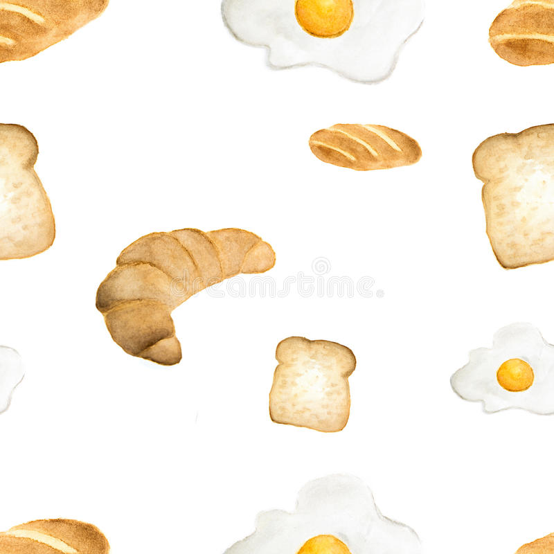 Watercolor seamless pattern bread and fried egg royalty free illustration