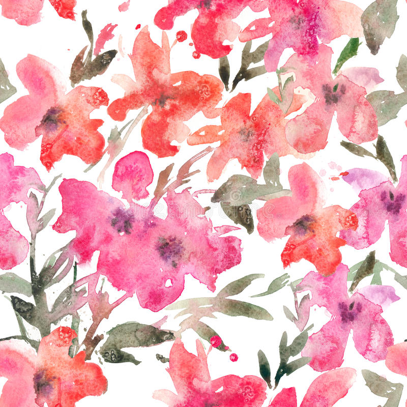 Watercolor seamless pattern with bright loose flowers on white background. Vibrant hand drawn floral texture. Expressive floral background for web pages vector illustration