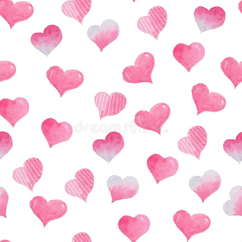 Watercolor seamless pattern with bright pink hearts. Cute decorative background. Wallpaper for season decoration, wrapping paper royalty free stock photos