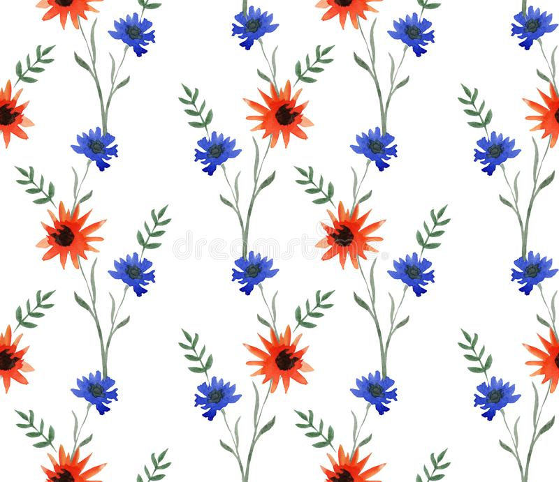 Watercolor delicate seamless pattern with red and blue summers flowers on white background. vector illustration
