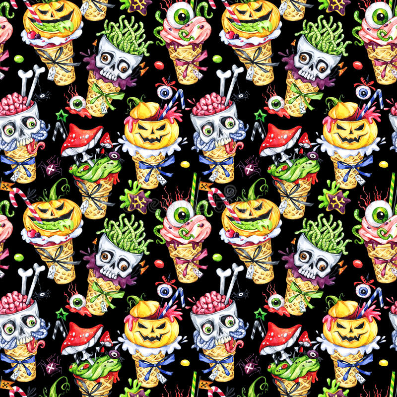 Free Watercolor Seamless Pattern, Cartoon Cones With Skulls, Pumpkins, Eyes And Amanitas. Halloween Holiday Illustration Royalty Free Stock Images - 97986959
