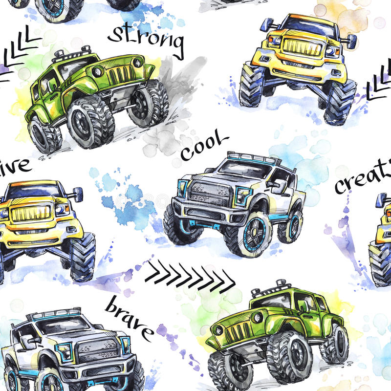 Free Watercolor Seamless Pattern Cartoon Monster Trucks. Colorful Extreme Sports Background. 4x4. Vehicle SUV Off Road Stock Photos - 98849253