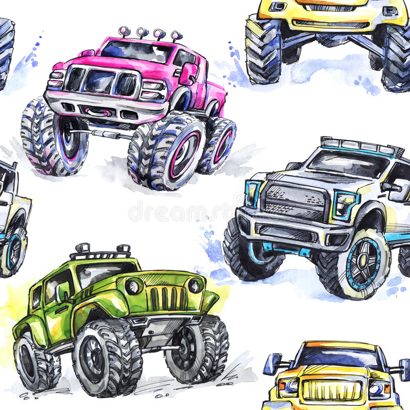 Watercolor seamless pattern Cartoon Monster Trucks. Colorful Extreme Sports background. 4x4. Vehicle SUV Off Road royalty free illustration