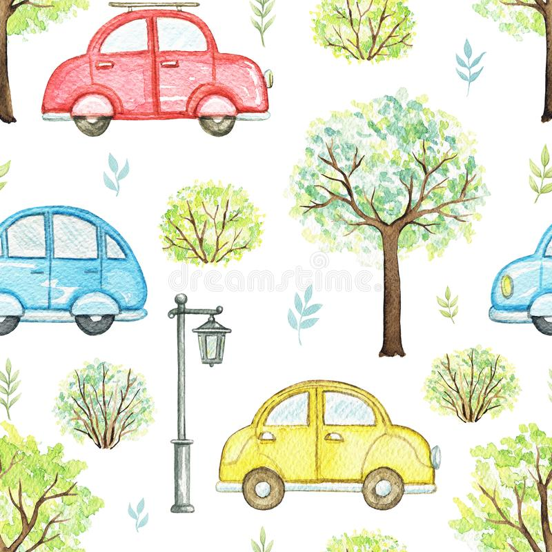 Watercolor seamless pattern with cartoon multicolored cars in park stock illustration