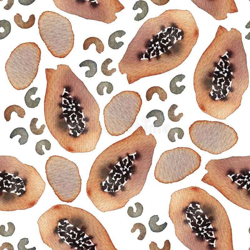Watercolor seamless pattern with cashew and papaya on a white background. Perfect for wrapping paper, wallpaper, notebook covers royalty free stock photos