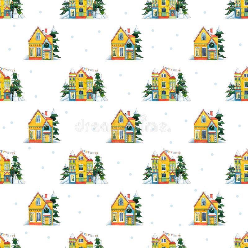 Watercolor Seamless Pattern. Christmas Houses with snowman, snowfall. royalty free illustration