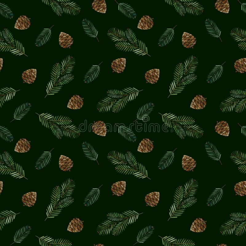 Watercolor seamless pattern with christmas tree branches and cones on a green background. royalty free illustration