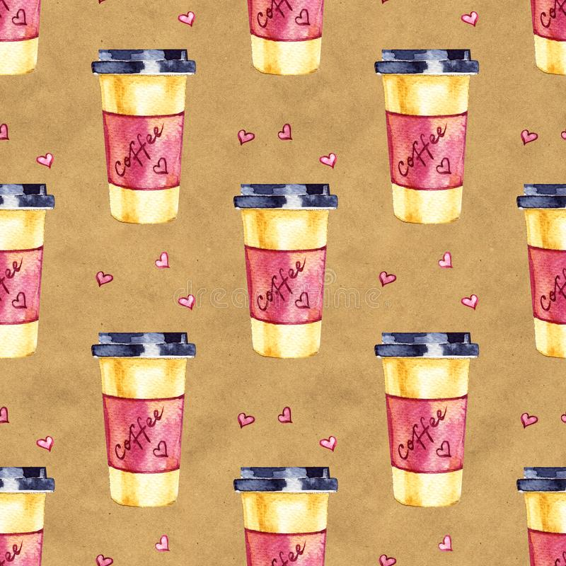 Watercolor seamless pattern. Coffee hand painted illustration. Perfect for apparel, fabric, textile. royalty free stock photos