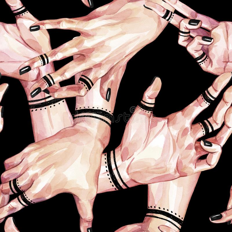 Watercolor seamless pattern, collection of girls hands with mehendi on black background. Body parts. Gestures and hand royalty free illustration