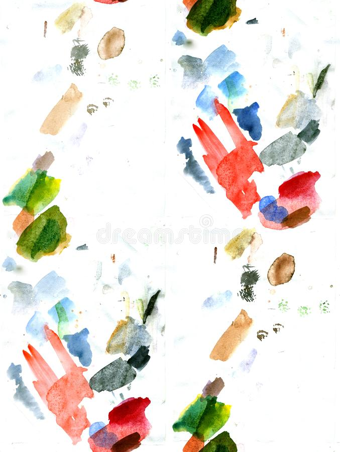 Watercolor seamless pattern of colored spots on a white background royalty free stock photo