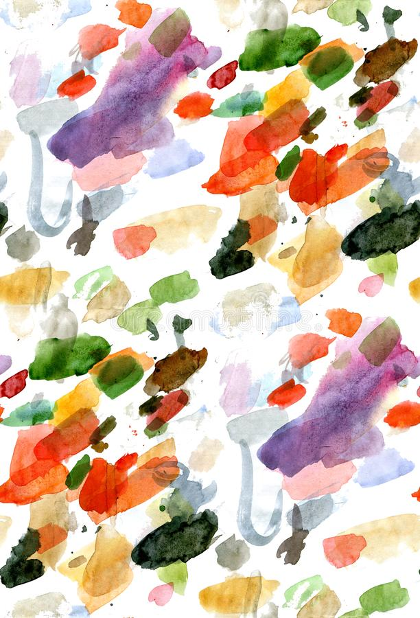 Watercolor seamless pattern of colored spots on a white background royalty free stock photos