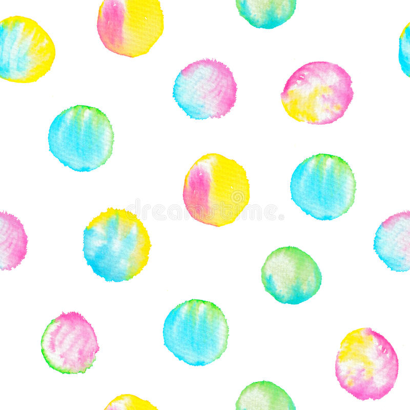 Watercolor seamless pattern with colorful circles. Hand drawn round shapes. Vibrant happy background royalty free illustration