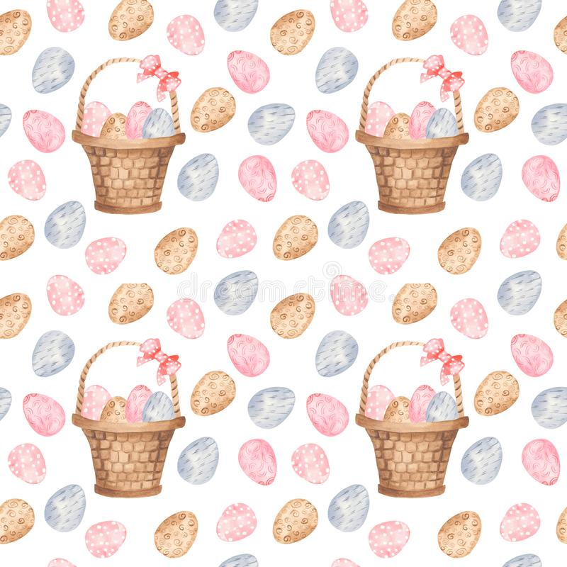 Watercolor seamless pattern with colorful Easter eggs and basket. vector illustration