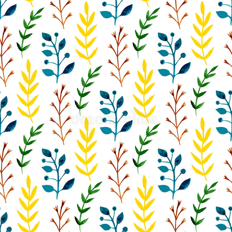 Watercolor seamless pattern with colorful leaves and branches. Hand paint vector seasonal background. Can be used for wrapping, te royalty free illustration