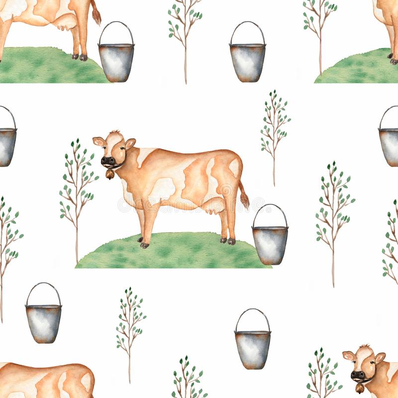 Watercolor Seamless pattern with cows,trees,grass and bucket. Vintage background with farm animal life royalty free illustration