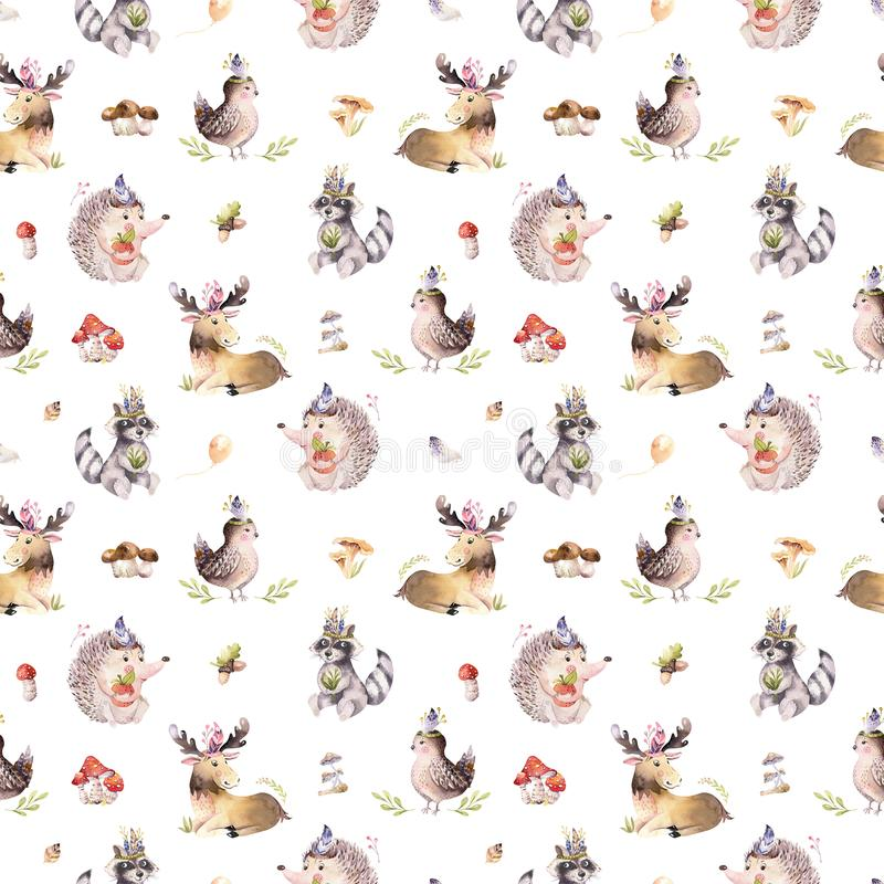 Watercolor seamless pattern of cute baby cartoon hedgehog, squirrel and moose animal for nursary, woodland forest. Illustration for children. Forest decoration vector illustration