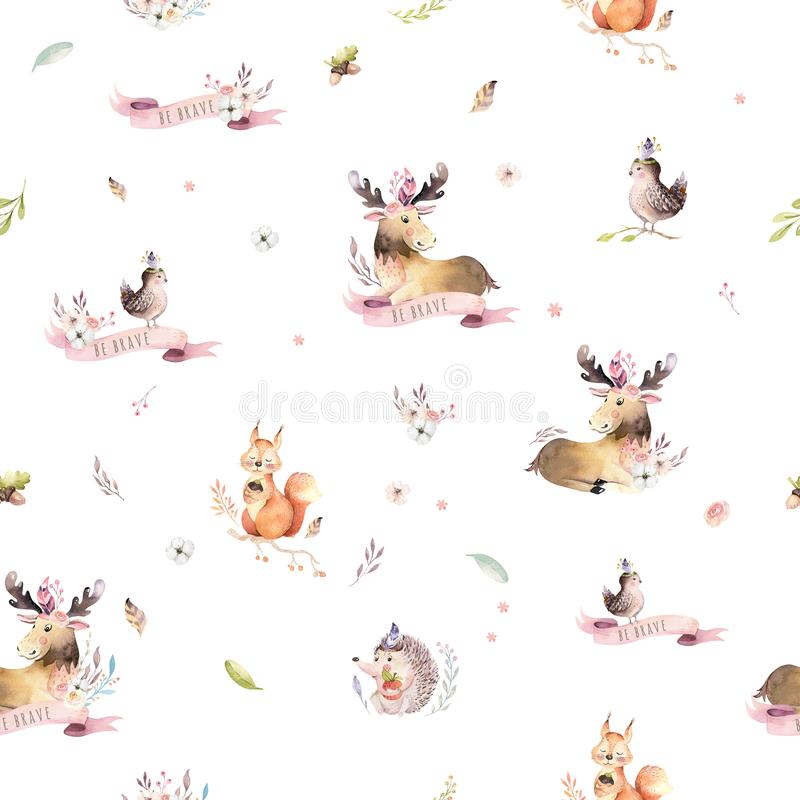 Watercolor seamless pattern of cute baby cartoon hedgehog, squirrel and moose animal for nursary, woodland forest. Illustration for children. Forest decoration royalty free illustration