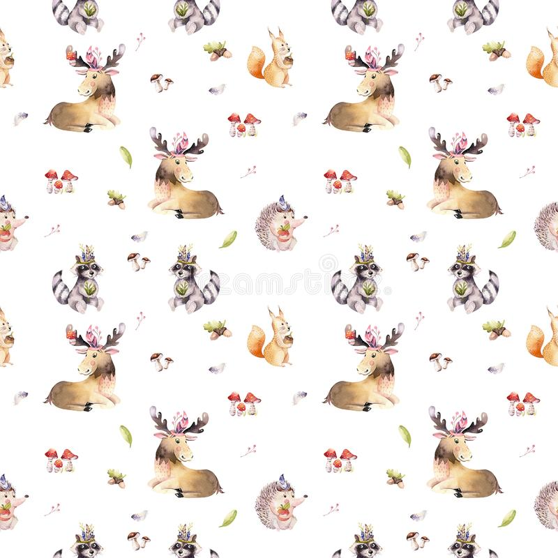 Watercolor seamless pattern of cute baby cartoon hedgehog, squirrel and moose animal for nursary, woodland forest stock image