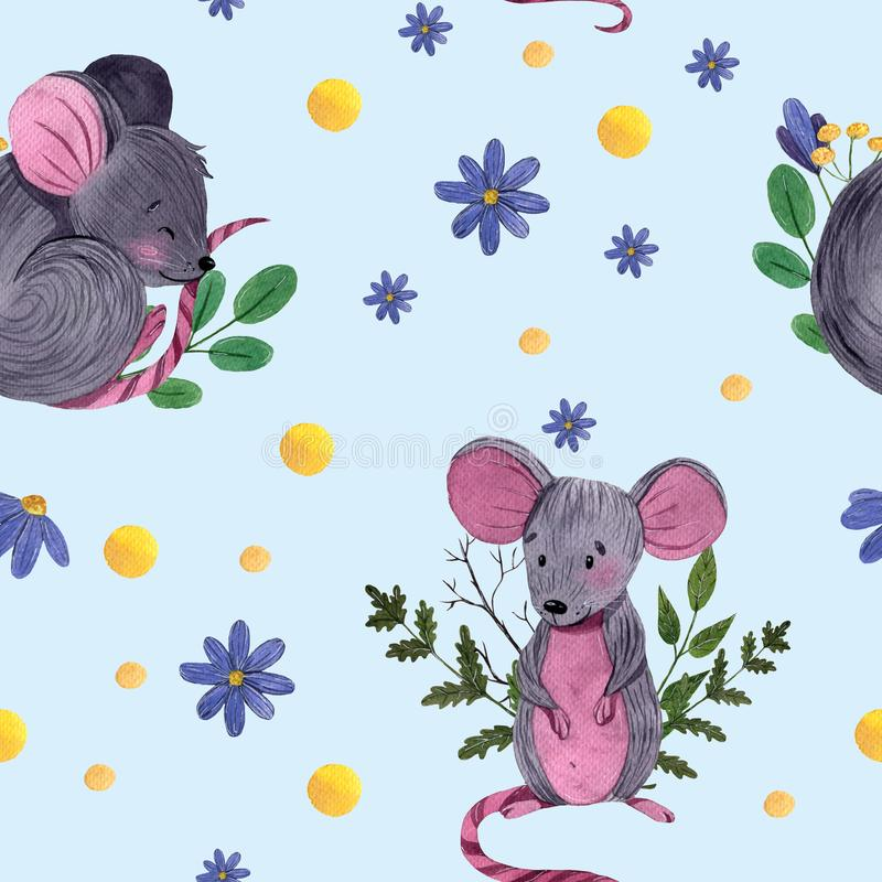 Watercolor seamless pattern with cute cartoon mouses in different poses with floral elements stock illustration
