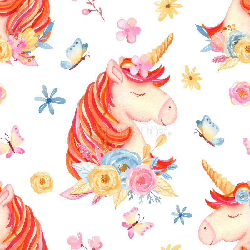 Watercolor seamless pattern with cute cartoon romantic unicorn and flowers. royalty free stock photography