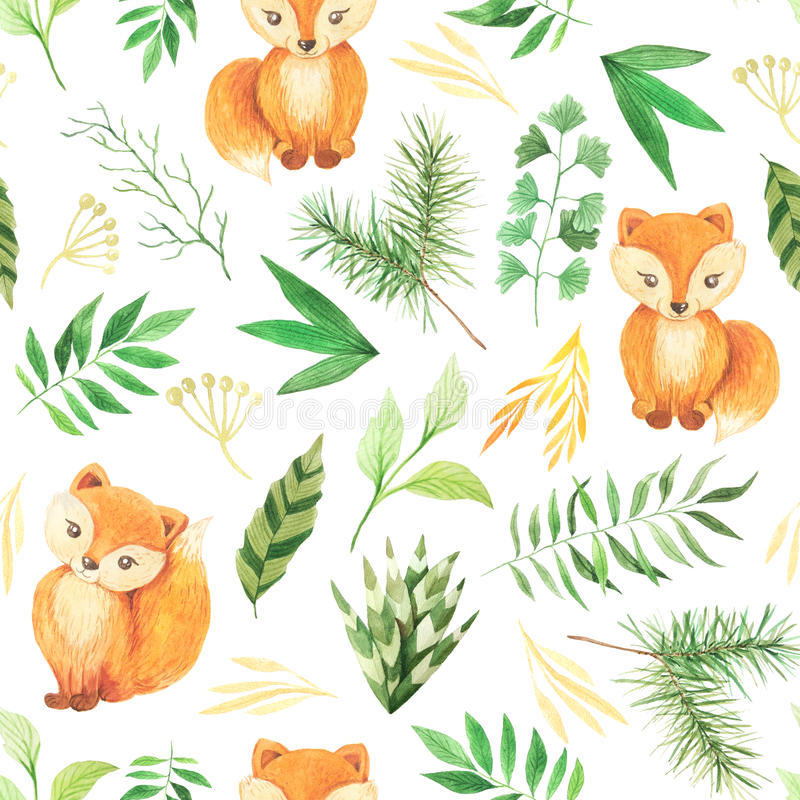 Watercolor seamless pattern with cute foxes vector illustration