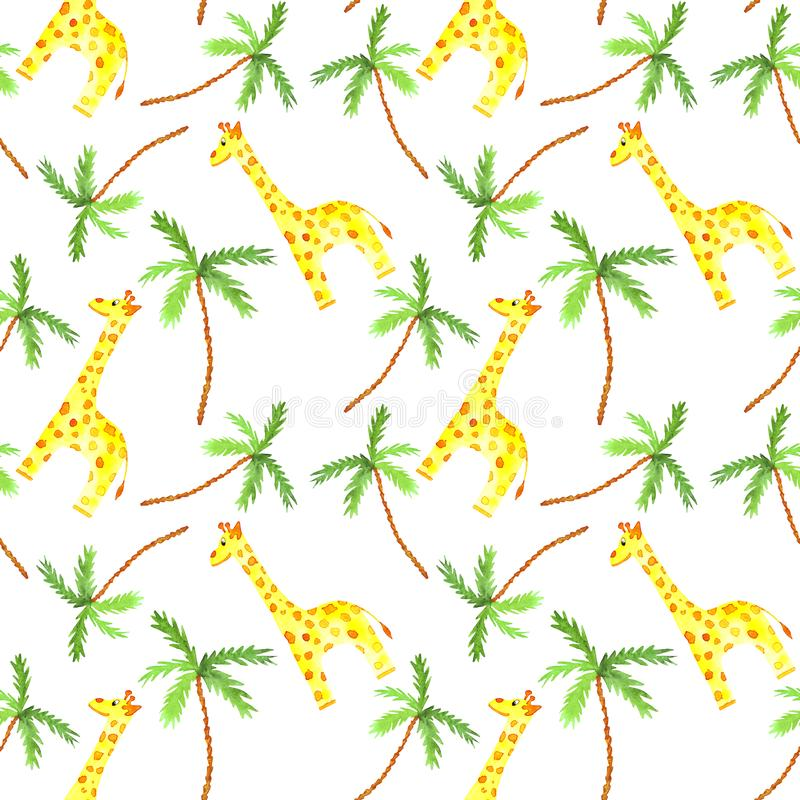 Watercolor seamless pattern with cute giraffe and palm tree african animals stock illustration