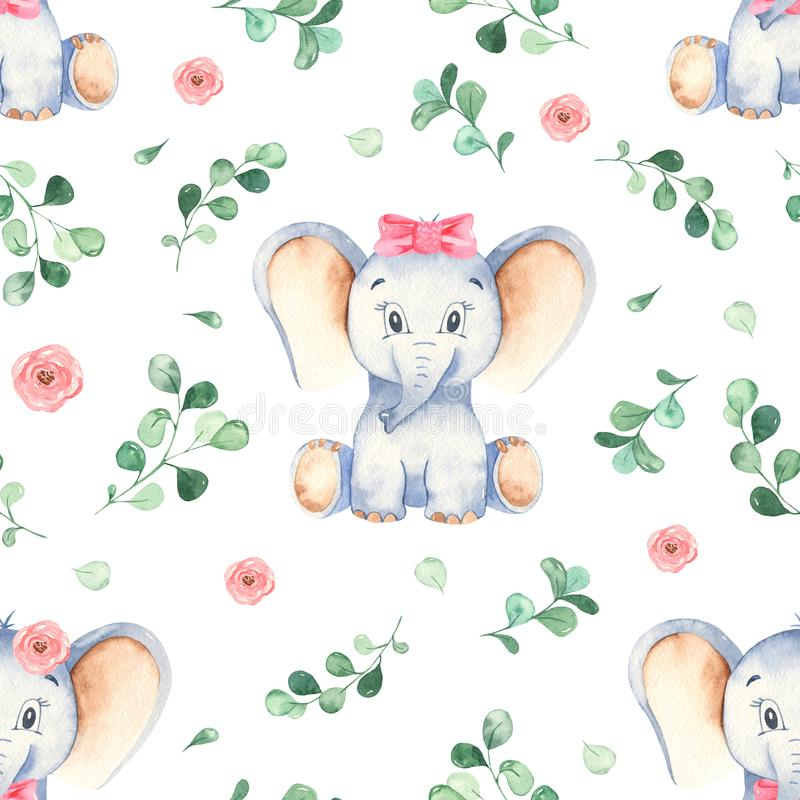 Watercolor seamless pattern with cute little baby girl elephant stock illustration