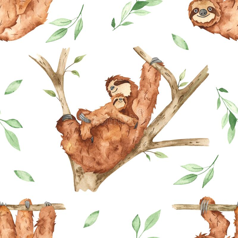 Watercolor seamless pattern with cute mom and baby sloths on a tree and leaves on a white background. Cute mom and baby sloths on a tree and leaves on a white royalty free illustration