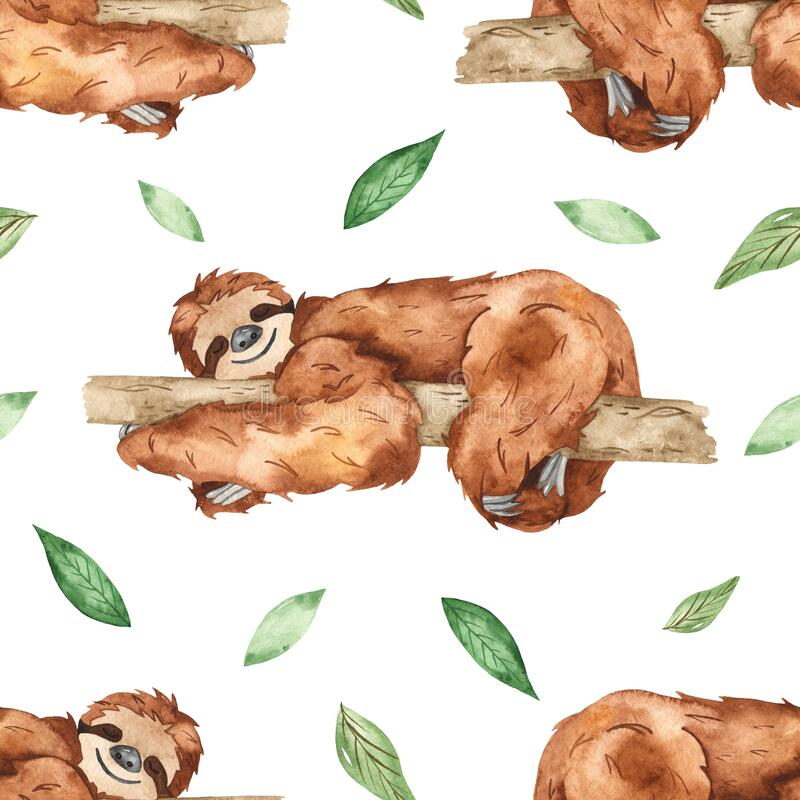 Watercolor seamless pattern with cute sleeping sloths on a tree and leaves on white background. Cute sleeping sloths on a tree and leaves on white background stock illustration