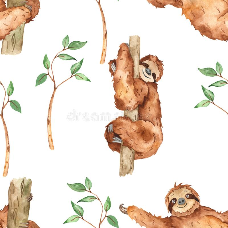 Watercolor seamless pattern with cute sloths and branches with leaves on a white background. Cute sloths and branches with leaves on a white background stock illustration